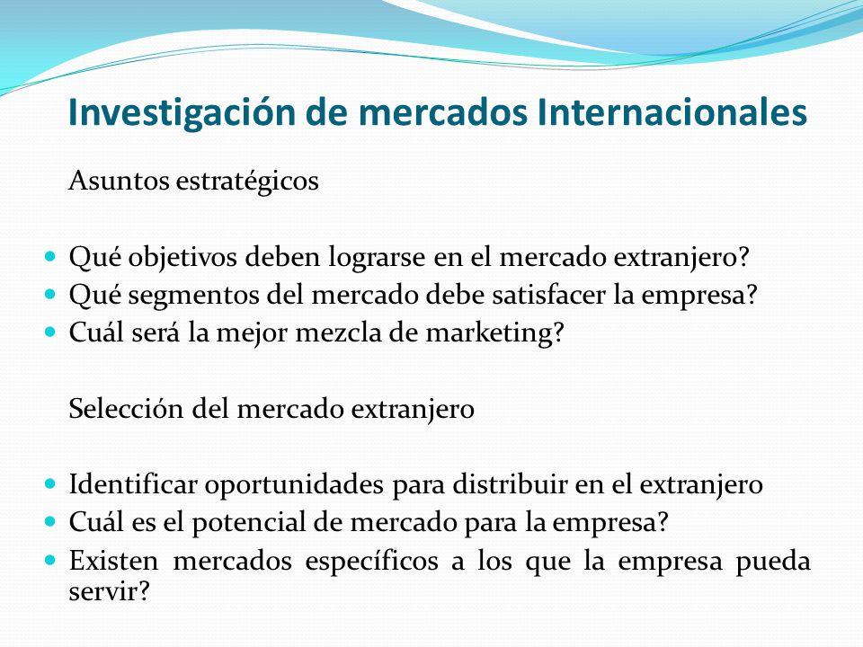 Investigación de mercados Internacionales Asuntos estratégicos Qué objetivos deben lograrse en el mercado extranjero? Qué segmentos del mercado debe s
