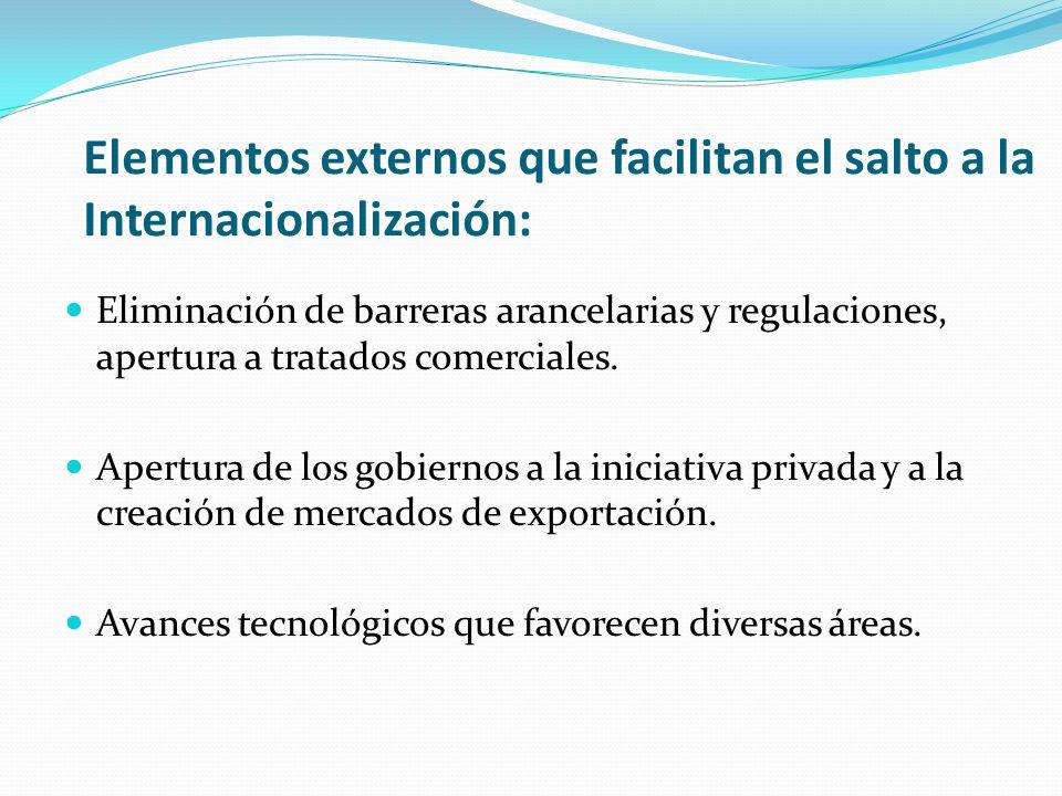 Elementos externos que facilitan el salto a la Internacionalización: Eliminación de barreras arancelarias y regulaciones, apertura a tratados comerciales.