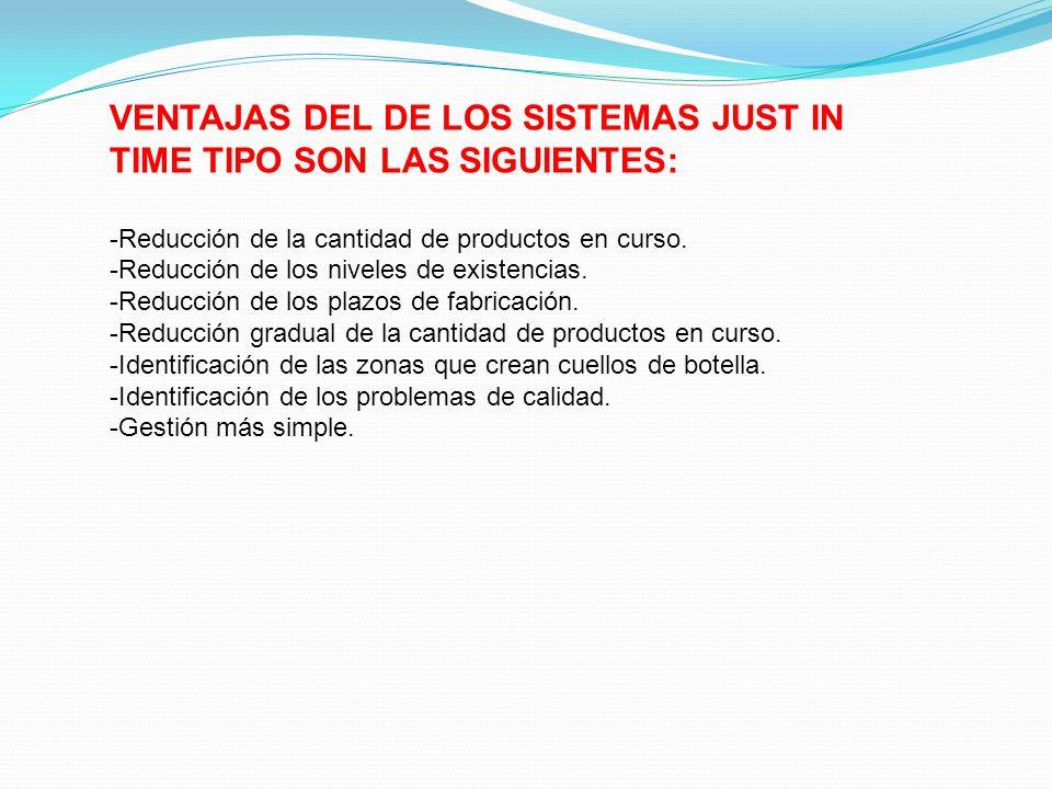 VENTAJAS DEL DE LOS SISTEMAS JUST IN TIME TIPO SON LAS SIGUIENTES: -Reducción de la cantidad de productos en curso. -Reducción de los niveles de exist