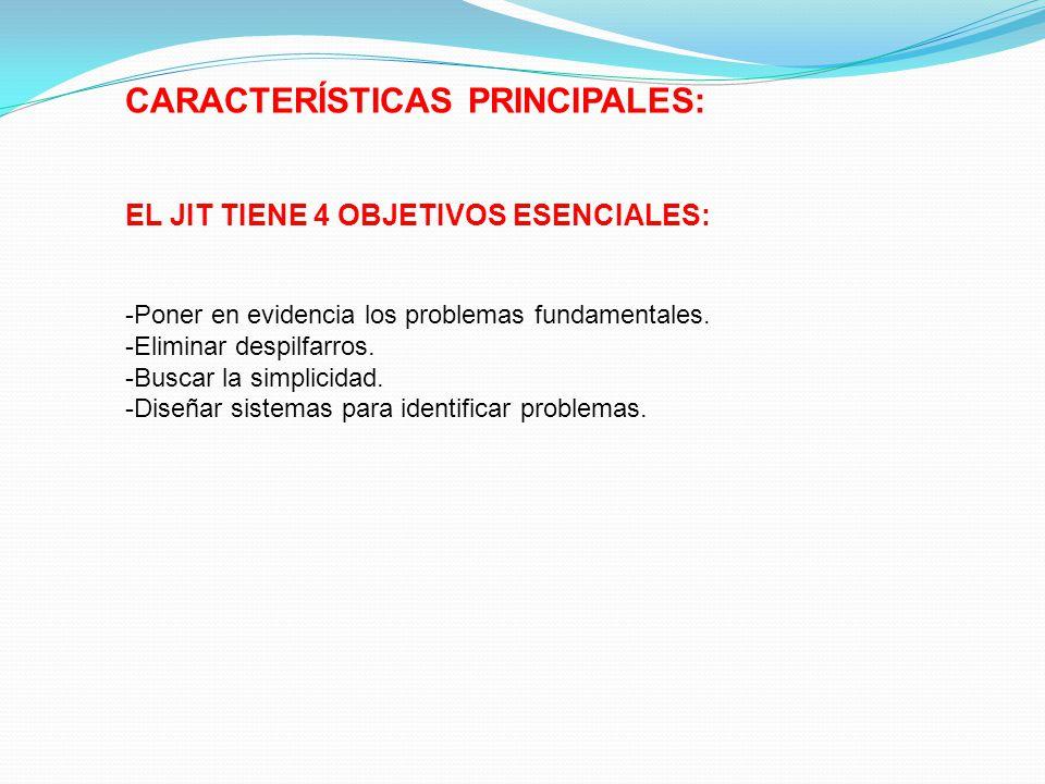 CARACTERÍSTICAS PRINCIPALES: EL JIT TIENE 4 OBJETIVOS ESENCIALES: -Poner en evidencia los problemas fundamentales. -Eliminar despilfarros. -Buscar la