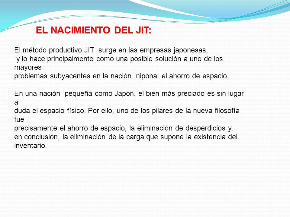 EL NACIMIENTO DEL JIT: El método productivo JIT surge en las empresas japonesas, y lo hace principalmente como una posible solución a uno de los mayor