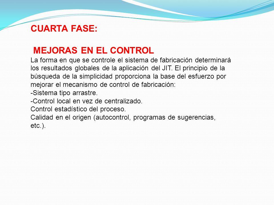 CUARTA FASE: MEJORAS EN EL CONTROL La forma en que se controle el sistema de fabricación determinará los resultados globales de la aplicación del JIT.