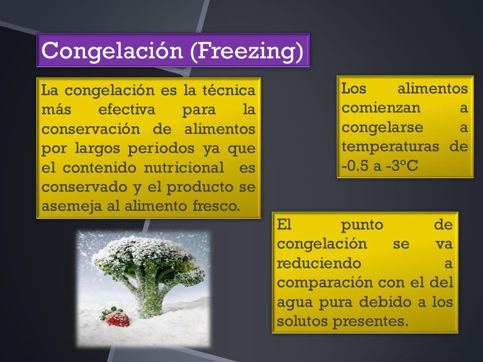 Congelación (Freezing) La congelación es la técnica más efectiva para la conservación de alimentos por largos periodos ya que el contenido nutricional es conservado y el producto se asemeja al alimento fresco.