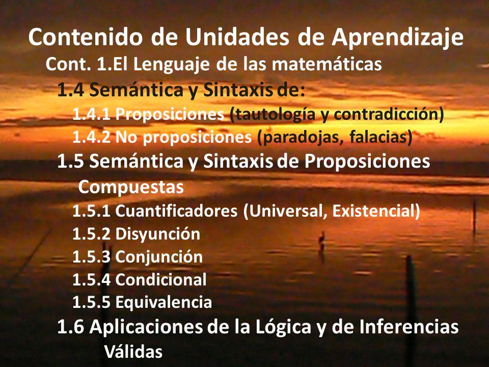 Contenido de Unidades de Aprendizaje Cont.