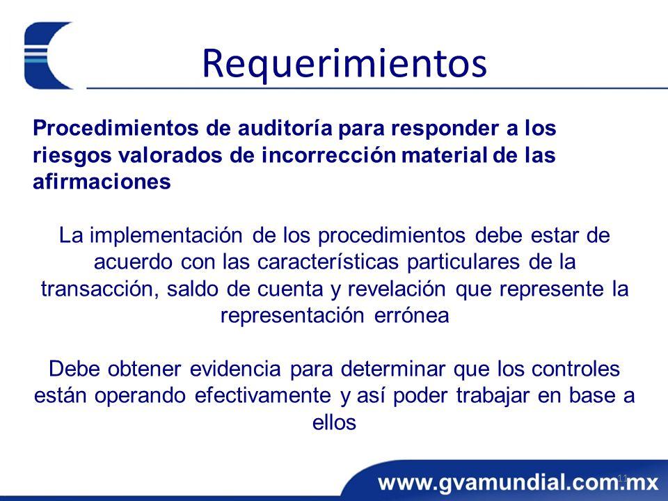 Procedimientos de auditoría para responder a los riesgos valorados de incorrección material de las afirmaciones La implementación de los procedimiento