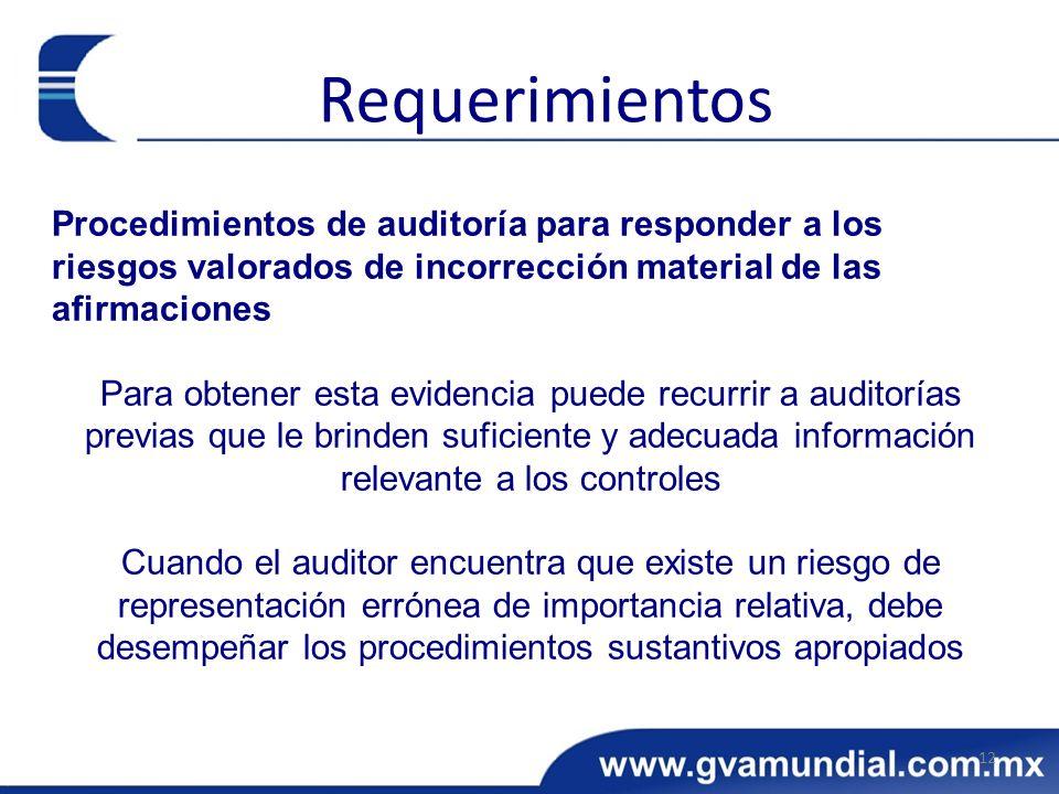 Procedimientos de auditoría para responder a los riesgos valorados de incorrección material de las afirmaciones Para obtener esta evidencia puede recu