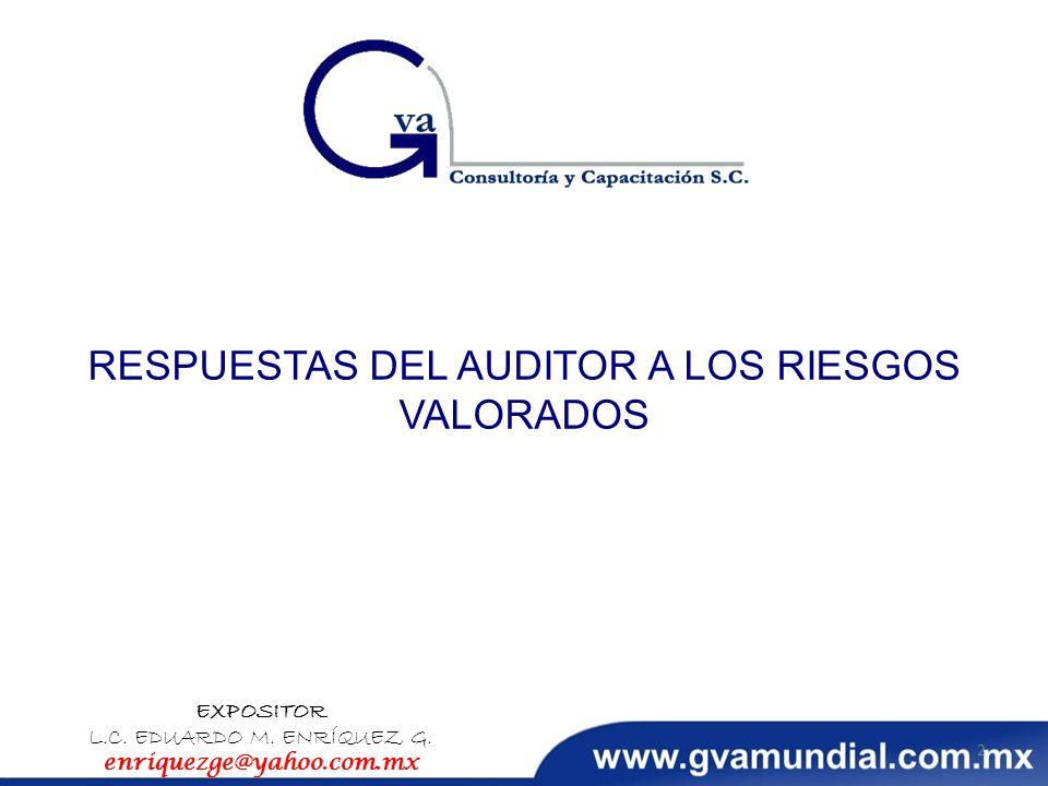 RESPUESTAS DEL AUDITOR A LOS RIESGOS VALORADOS EXPOSITOR L.C. EDUARDO M. ENRÍQUEZ G. enriquezge@yahoo.com.mx 2