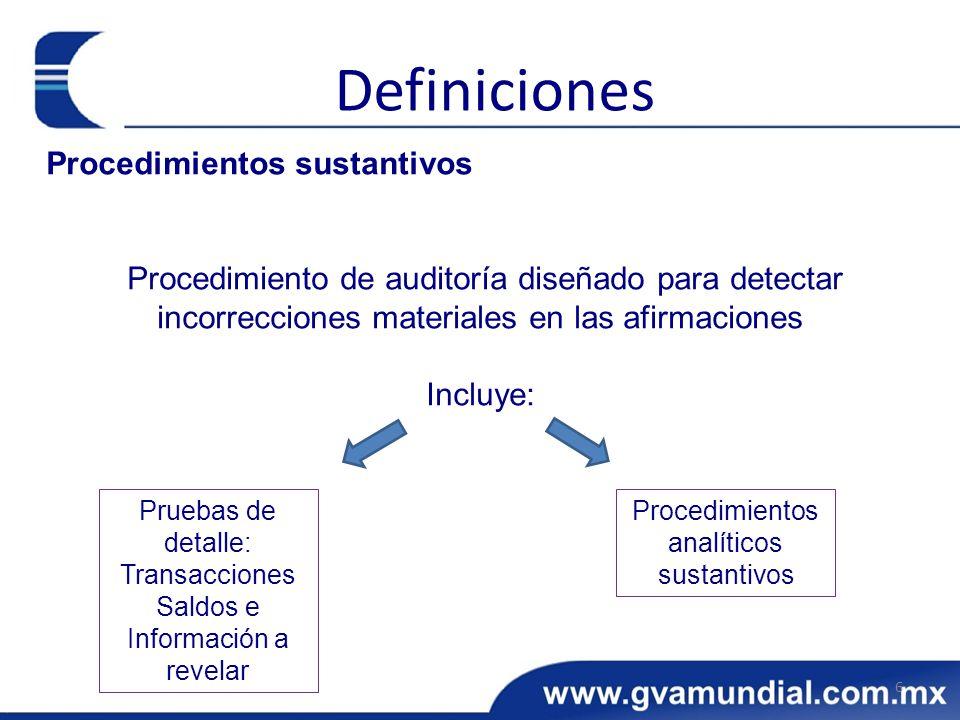 Procedimientos sustantivos Procedimiento de auditoría diseñado para detectar incorrecciones materiales en las afirmaciones Incluye: 6 Definiciones Pru
