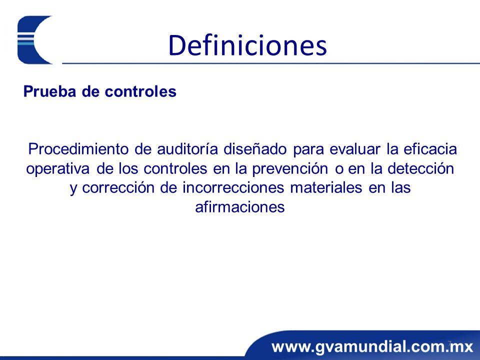 Prueba de controles Procedimiento de auditoría diseñado para evaluar la eficacia operativa de los controles en la prevención o en la detección y corre