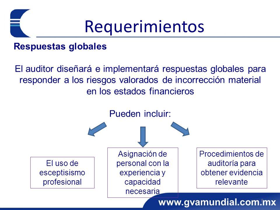 Respuestas globales El auditor diseñará e implementará respuestas globales para responder a los riesgos valorados de incorrección material en los esta