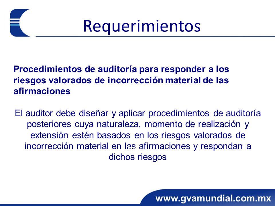 Procedimientos de auditoría para responder a los riesgos valorados de incorrección material de las afirmaciones El auditor debe diseñar y aplicar proc
