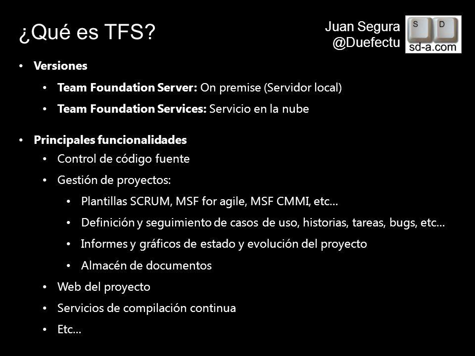 User Name Juan Segura @Duefectu Crear una cuenta en TFSPreview http://tfspreview.com get started for freeNombrar sitio xxx.tfspreview.com Identificarse Esperar impacientemente…