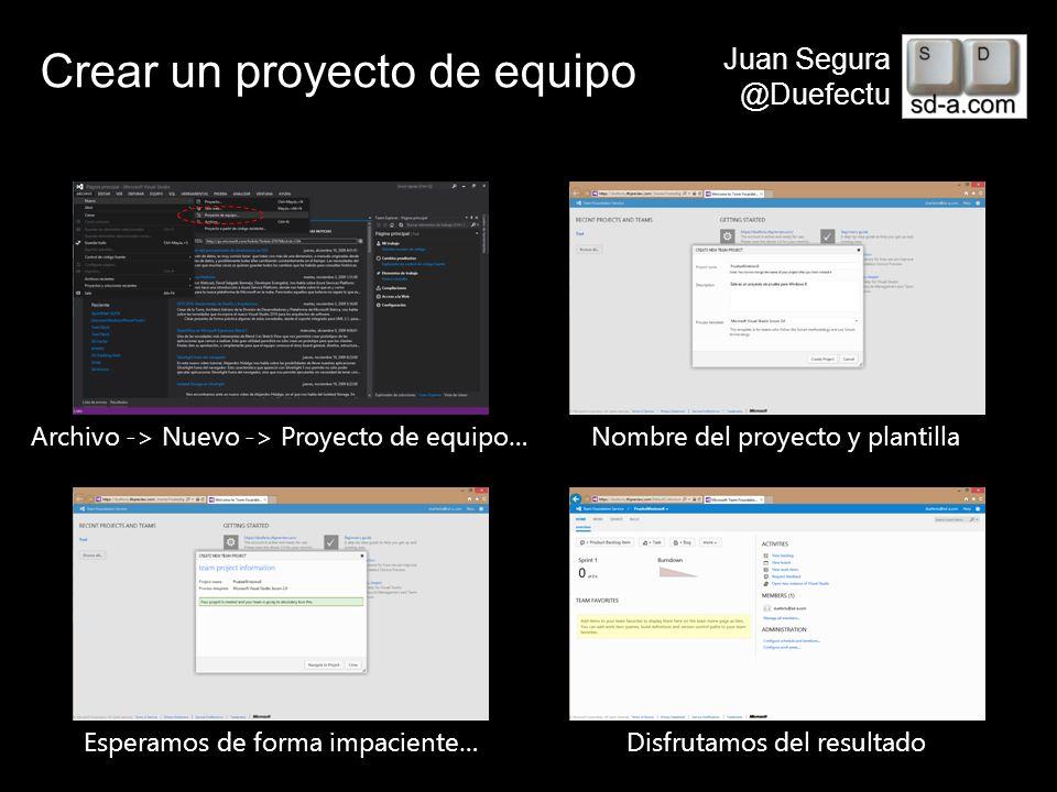 User Name Juan Segura @Duefectu Crear un proyecto de equipo Archivo -> Nuevo -> Proyecto de equipo…Nombre del proyecto y plantilla Esperamos de forma