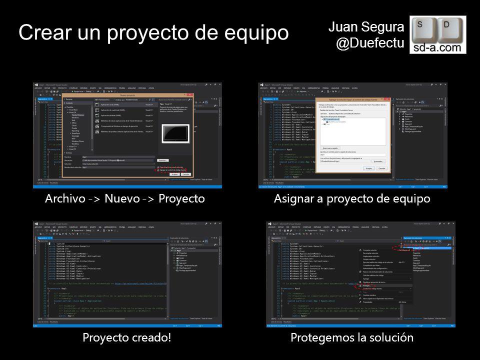 User Name Juan Segura @Duefectu Crear un proyecto de equipo Archivo -> Nuevo -> ProyectoAsignar a proyecto de equipo Proyecto creado!Protegemos la sol