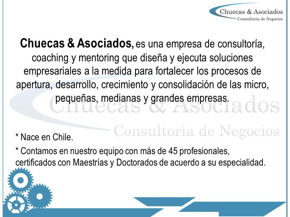 Chuecas & Asociados, es una empresa de consultoría, coaching y mentoring que diseña y ejecuta soluciones empresariales a la medida para fortalecer los procesos de apertura, desarrollo, crecimiento y consolidación de las micro, pequeñas, medianas y grandes empresas.