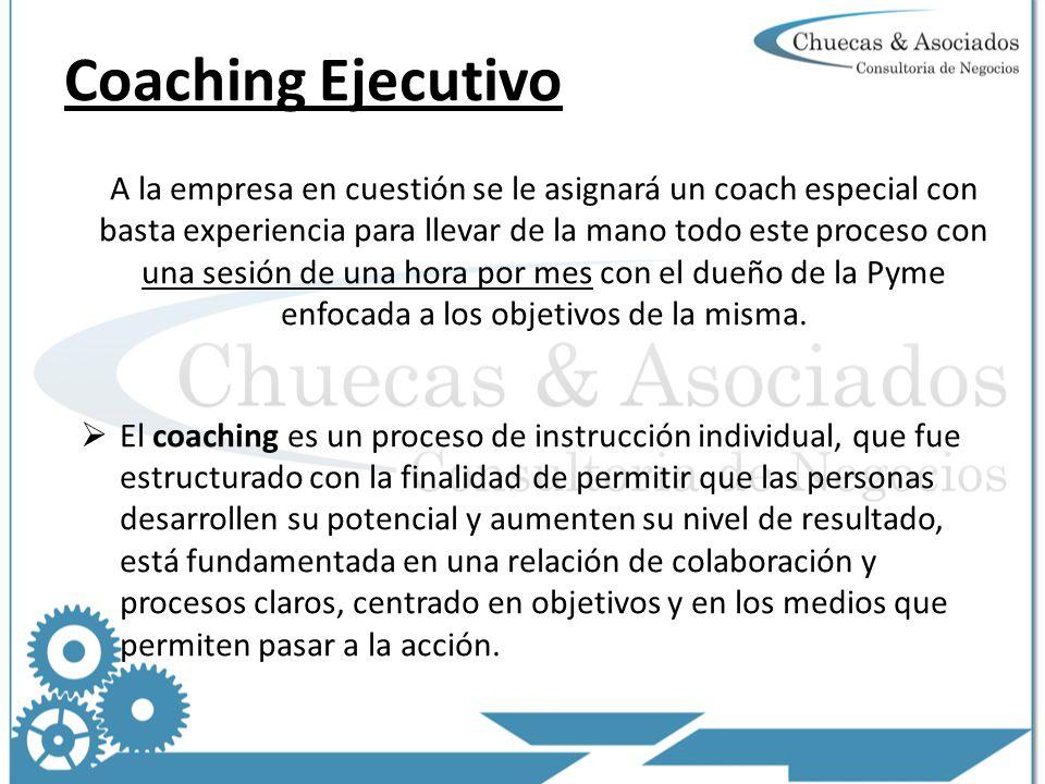 A la empresa en cuestión se le asignará un coach especial con basta experiencia para llevar de la mano todo este proceso con una sesión de una hora por mes con el dueño de la Pyme enfocada a los objetivos de la misma.