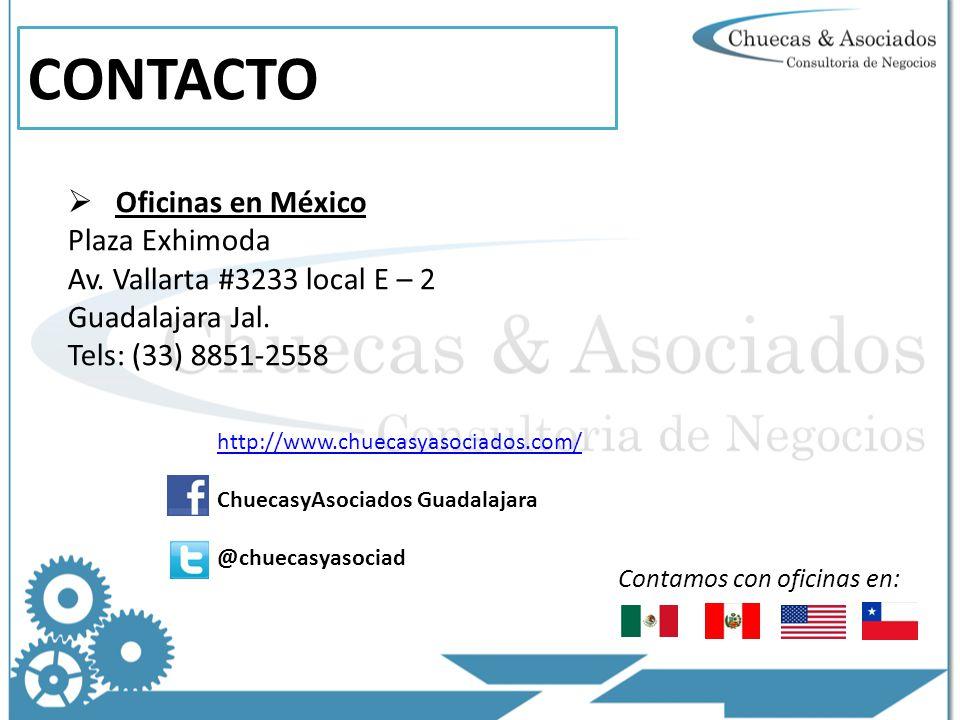 CONTACTO Oficinas en México Plaza Exhimoda Av.Vallarta #3233 local E – 2 Guadalajara Jal.