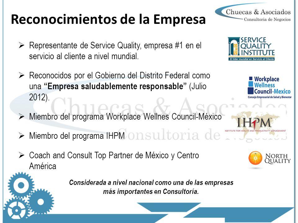 Reconocimientos de la Empresa Representante de Service Quality, empresa #1 en el servicio al cliente a nivel mundial.