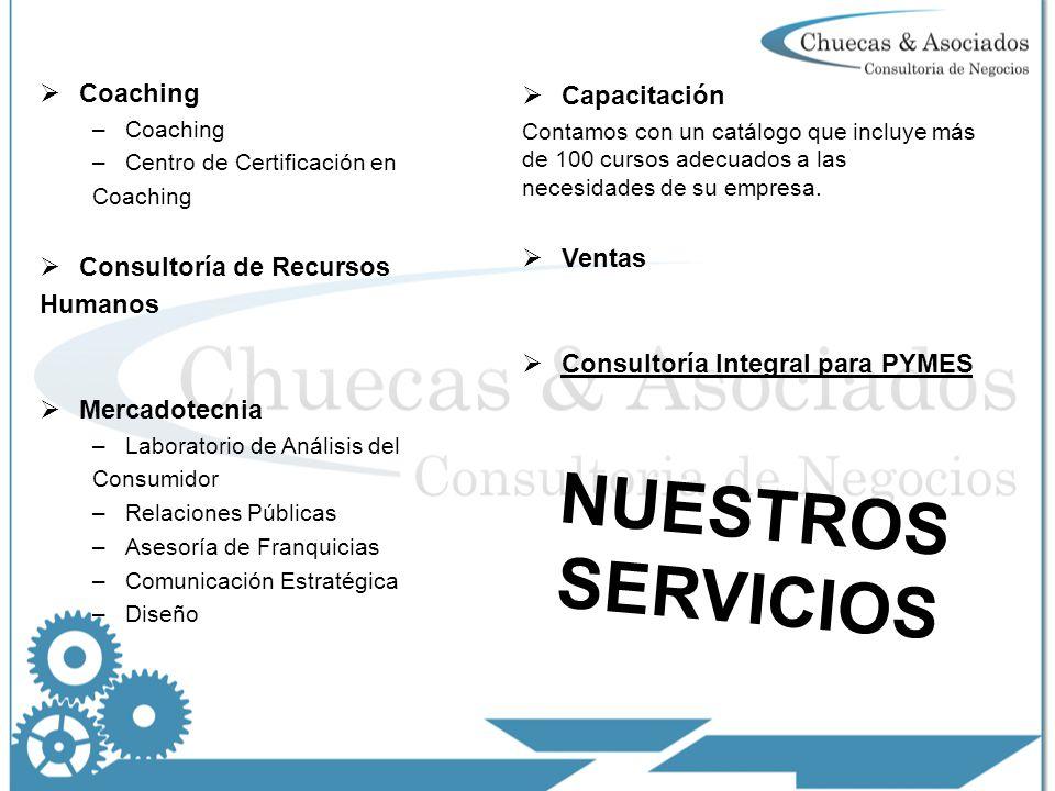 Coaching –Coaching –Centro de Certificación en Coaching Consultoría de Recursos Humanos Mercadotecnia –Laboratorio de Análisis del Consumidor –Relaciones Públicas –Asesoría de Franquicias –Comunicación Estratégica –Diseño Capacitación Contamos con un catálogo que incluye más de 100 cursos adecuados a las necesidades de su empresa.