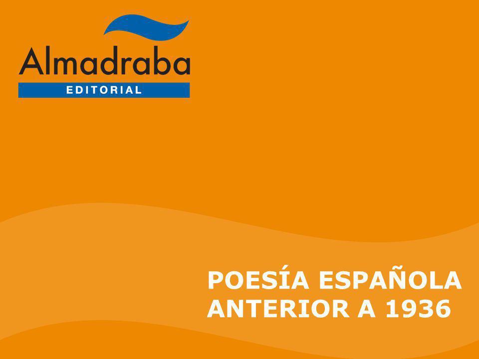 Poesía española anterior a 1936 ÍNDICE LA POESÍA MODERNISTA (I) LA POESÍA MODERNISTA (I) LA POESÍA MODERNISTA (II) LA POESÍA MODERNISTA (II) LA POESÍA DE LA GENERACIÓN DEL 98 LA POESÍA DE LA GENERACIÓN DEL 98 ANTONIO MACHADO ANTONIO MACHADO LA POESÍA NOVECENTISTA LA POESÍA NOVECENTISTA JUAN RAMÓN JIMÉNEZ (I) JUAN RAMÓN JIMÉNEZ (I) JUAN RAMÓN JIMÉNEZ (II) JUAN RAMÓN JIMÉNEZ (II) LA POESÍA DE LA GENERACIÓN DEL 27 LA POESÍA DE LA GENERACIÓN DEL 27 TRAYECTORIA TRAYECTORIA ENLACES ENLACES