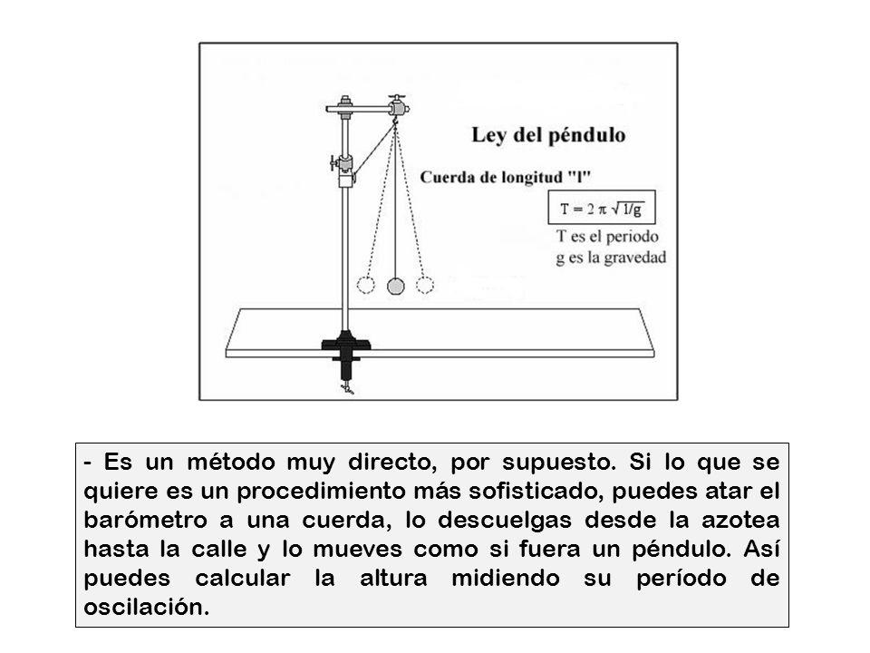 - Perfecto - le dije, - ¿y hay otra solución? - Si, - contestó - éste es un procedimiento muy elemental para medir un edificio, pero también sirve. En