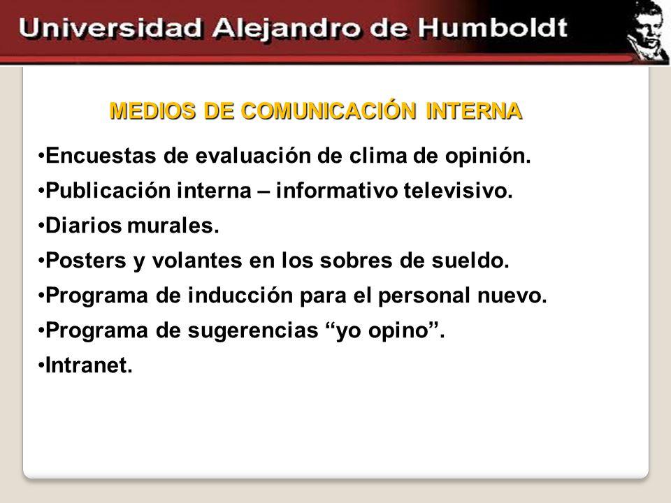 MEDIOS DE COMUNICACIÓN INTERNA Encuestas de evaluación de clima de opinión.Encuestas de evaluación de clima de opinión. Publicación interna – informat
