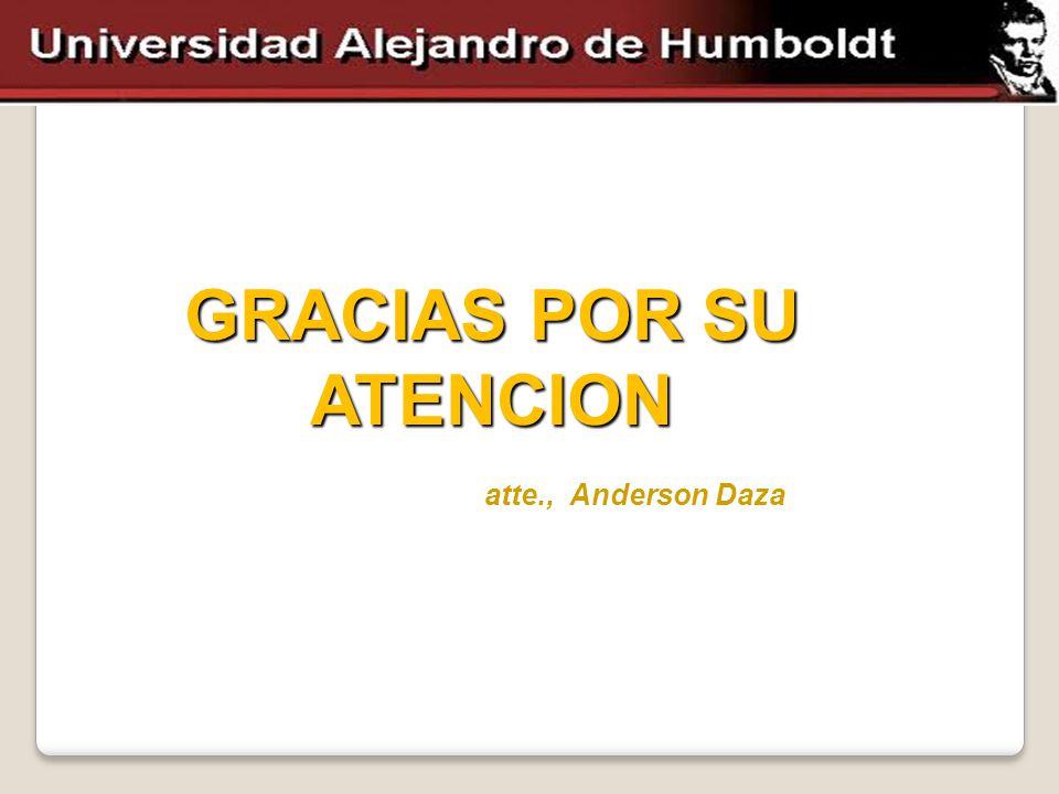 GRACIAS POR SU ATENCION atte., Anderson Daza