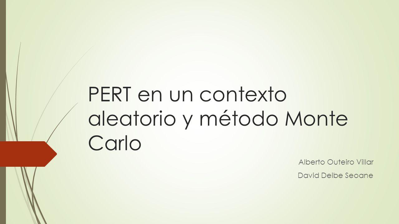 Índice 1.Función de densidad 2.PERT aleatorio 3.Problemas del PERT en un contexto aleatorio 4.Método Monte Carlo 5.Consideraciones del método Monte Carlo