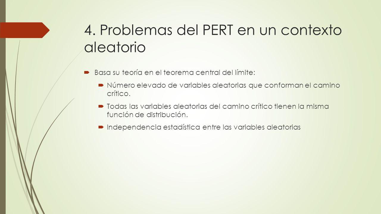 4. Problemas del PERT en un contexto aleatorio Basa su teoría en el teorema central del límite: Número elevado de variables aleatorias que conforman e