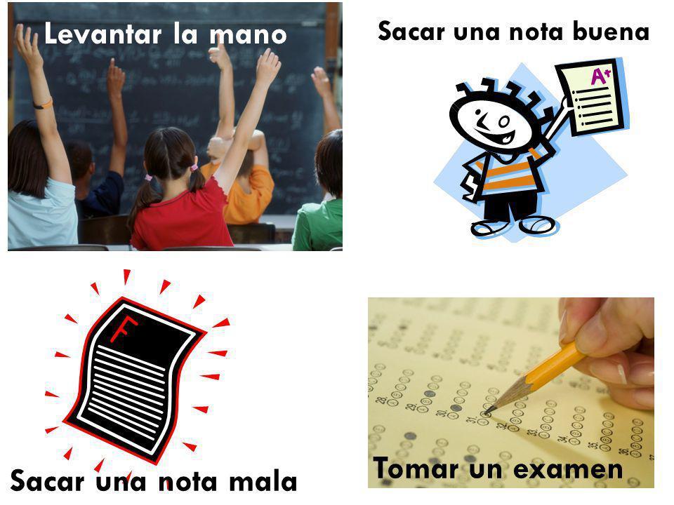 Tomar un examen Sacar una nota mala Sacar una nota buena Levantar la mano