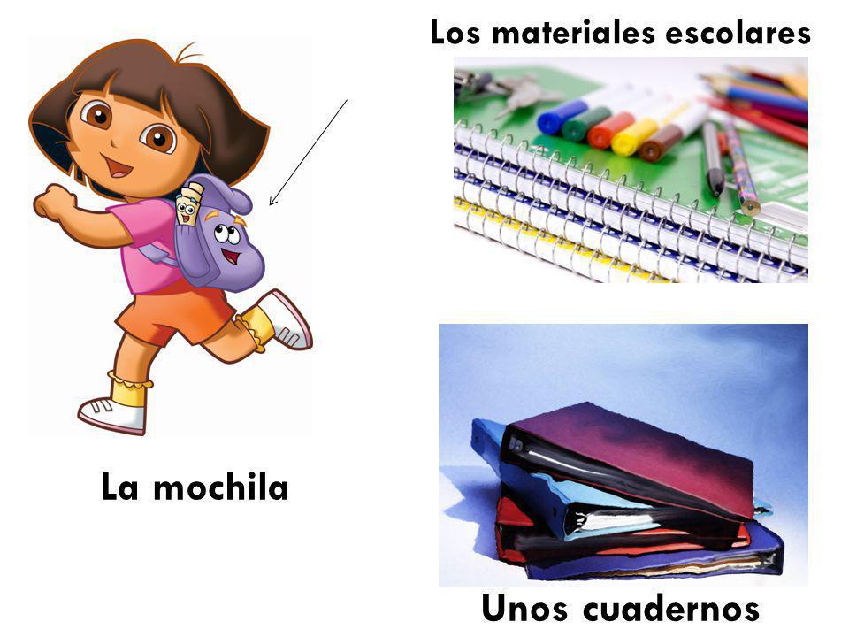 Unos cuadernos Los materiales escolares La mochila