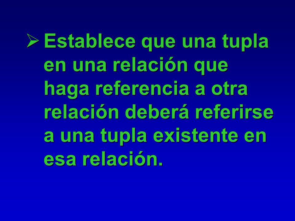 Integridad Referencial Se especifica sobre dos relaciones. Sirve para mantener consistencia entre las tuplas de dos relaciones.