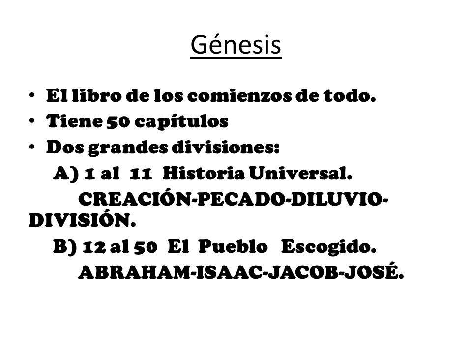 Génesis El libro de los comienzos de todo. Tiene 50 capítulos Dos grandes divisiones: A) 1 al 11 Historia Universal. CREACIÓN-PECADO-DILUVIO- DIVISIÓN