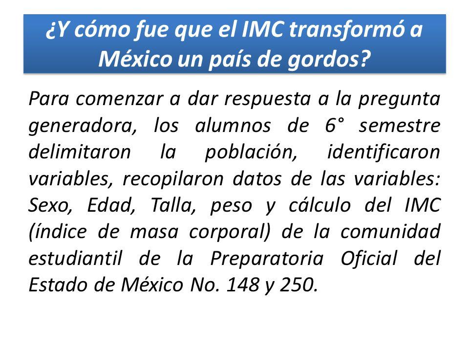 ¿Y cómo fue que el IMC transformó a México un país de gordos? Para comenzar a dar respuesta a la pregunta generadora, los alumnos de 6° semestre delim
