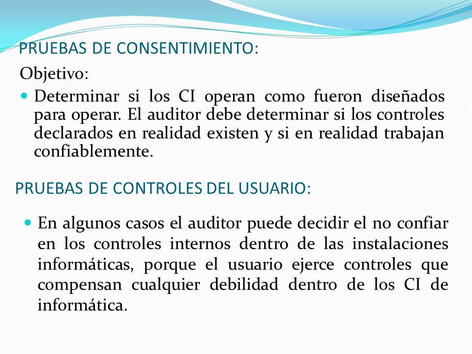 PRUEBAS DE CONSENTIMIENTO: Objetivo: Determinar si los CI operan como fueron diseñados para operar. El auditor debe determinar si los controles declar