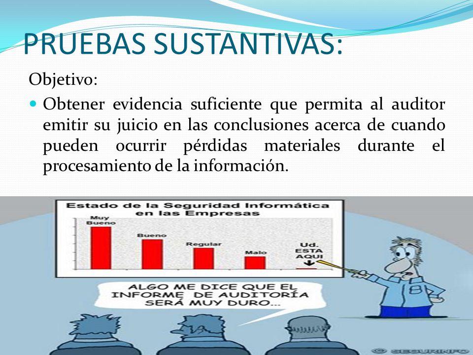PRUEBAS SUSTANTIVAS: Objetivo: Obtener evidencia suficiente que permita al auditor emitir su juicio en las conclusiones acerca de cuando pueden ocurri