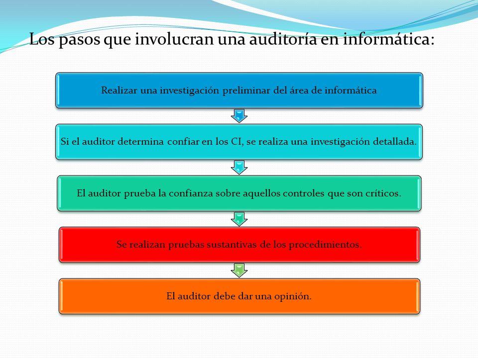 Los pasos que involucran una auditoría en informática: Realizar una investigación preliminar del área de informáticaSi el auditor determina confiar en los CI, se realiza una investigación detallada.El auditor prueba la confianza sobre aquellos controles que son críticos.Se realizan pruebas sustantivas de los procedimientos.El auditor debe dar una opinión.
