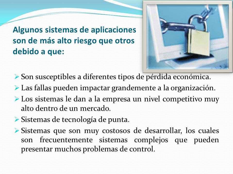 Algunos sistemas de aplicaciones son de más alto riesgo que otros debido a que: Son susceptibles a diferentes tipos de pérdida económica. Las fallas p