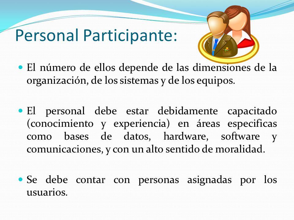 Personal Participante: El número de ellos depende de las dimensiones de la organización, de los sistemas y de los equipos. El personal debe estar debi