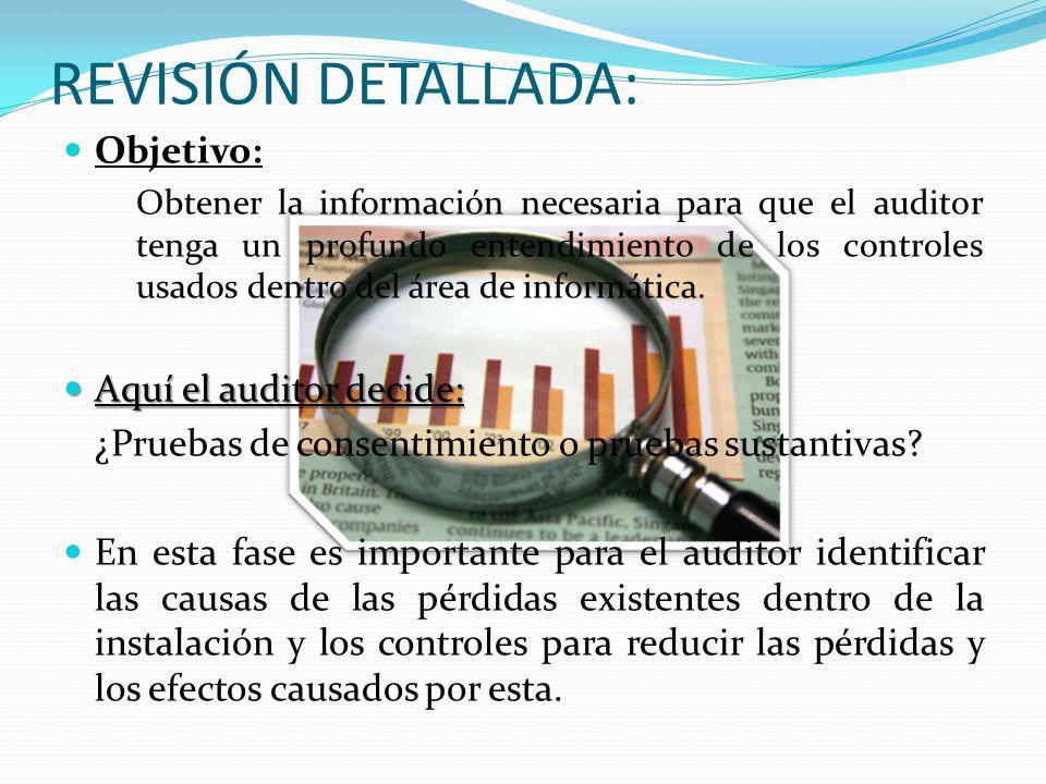 REVISIÓN DETALLADA: Objetivo: Obtener la información necesaria para que el auditor tenga un profundo entendimiento de los controles usados dentro del área de informática.