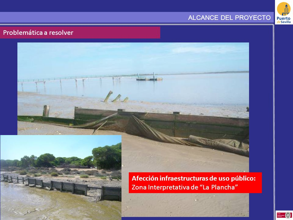ALCANCE DEL PROYECTO Problemática a resolver Afección infraestructuras de uso público: Zona Interpretativa de La Plancha