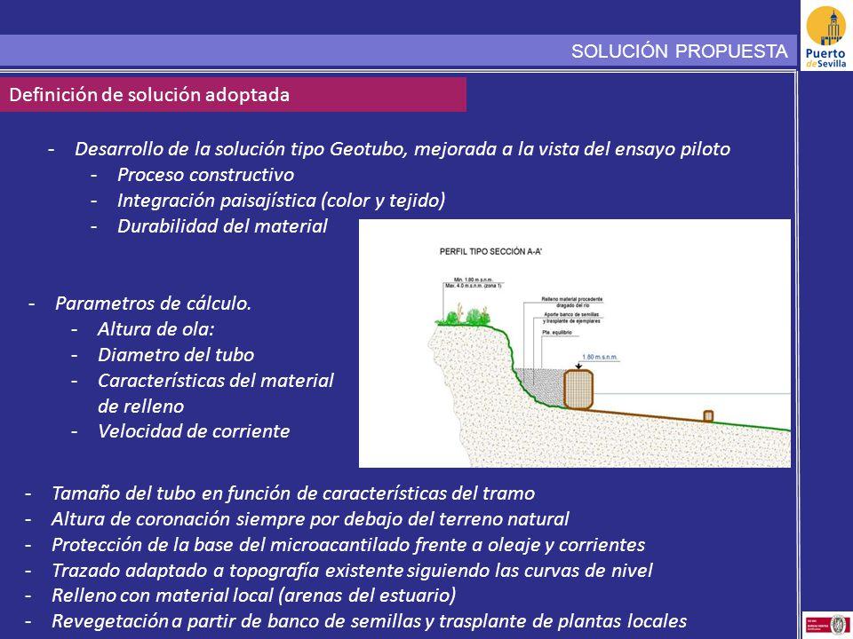 SOLUCIÓN PROPUESTA Definición de solución adoptada -Desarrollo de la solución tipo Geotubo, mejorada a la vista del ensayo piloto -Proceso constructiv