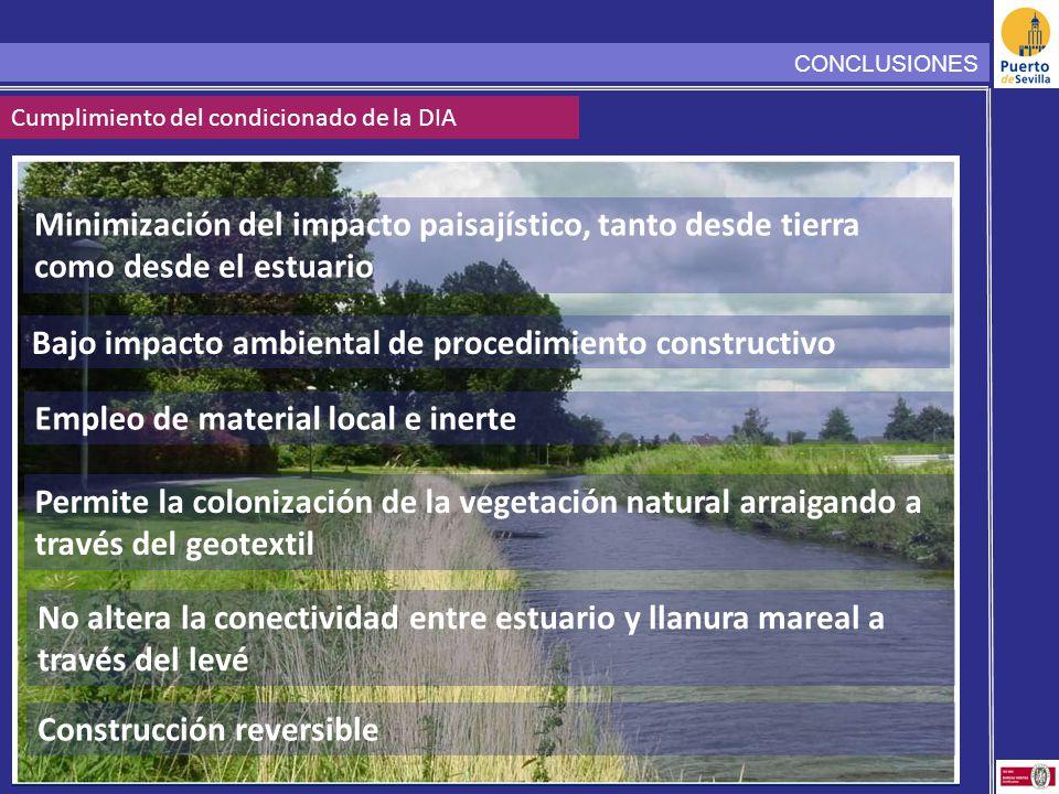 CONCLUSIONES Cumplimiento del condicionado de la DIA Minimización del impacto paisajístico, tanto desde tierra como desde el estuario Bajo impacto ambiental de procedimiento constructivo Empleo de material local e inerte Permite la colonización de la vegetación natural arraigando a través del geotextil No altera la conectividad entre estuario y llanura mareal a través del levé Construcción reversible