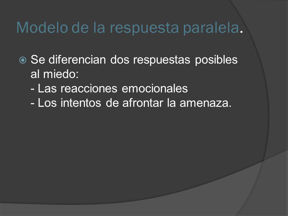 Modelo de la respuesta paralela. Se diferencian dos respuestas posibles al miedo: - Las reacciones emocionales - Los intentos de afrontar la amenaza.