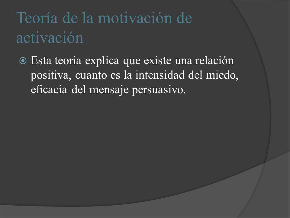 Teoría de la motivación de activación Esta teoría explica que existe una relación positiva, cuanto es la intensidad del miedo, eficacia del mensaje pe