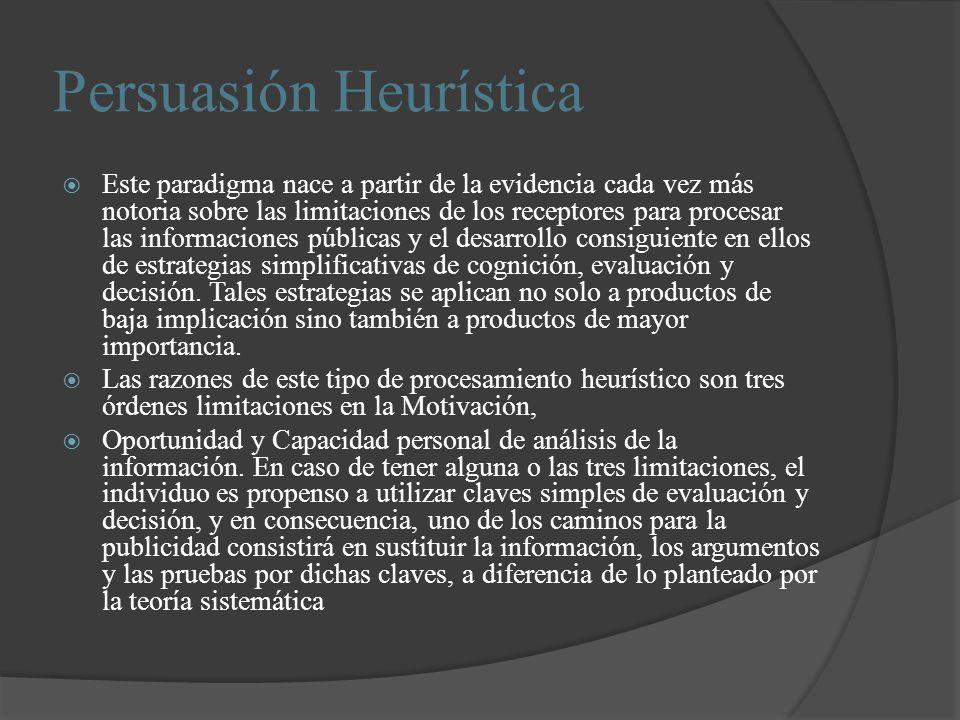 Persuasión Heurística Este paradigma nace a partir de la evidencia cada vez más notoria sobre las limitaciones de los receptores para procesar las inf