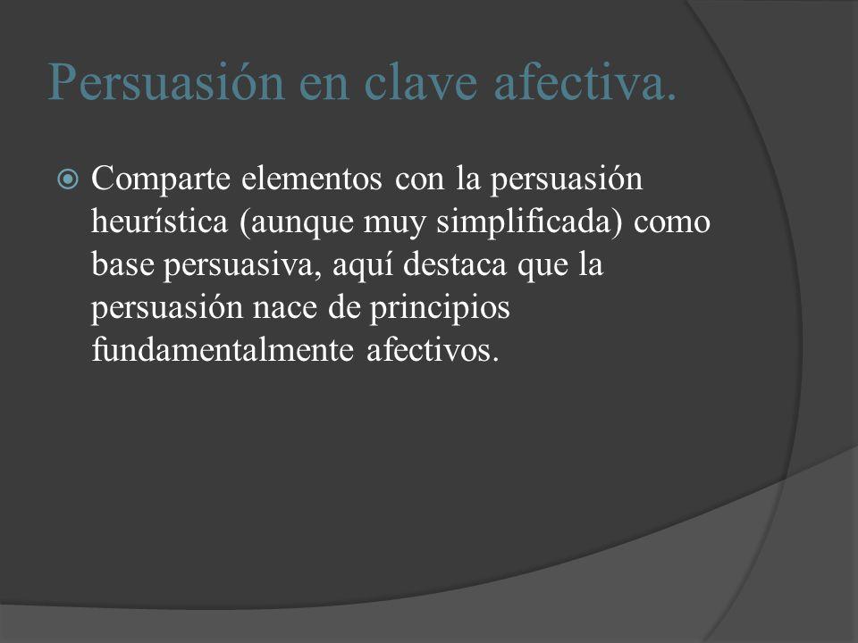 Persuasión en clave afectiva. Comparte elementos con la persuasión heurística (aunque muy simplificada) como base persuasiva, aquí destaca que la pers