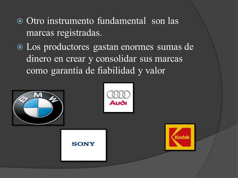 Otro instrumento fundamental son las marcas registradas. Los productores gastan enormes sumas de dinero en crear y consolidar sus marcas como garantía