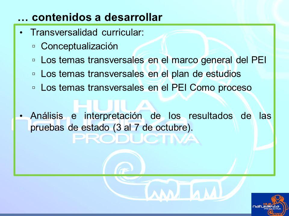 Transversalidad curricular: Conceptualización Los temas transversales en el marco general del PEI Los temas transversales en el plan de estudios Los t