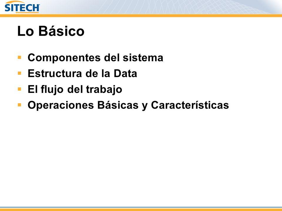 Lo Básico Componentes del sistema Estructura de la Data El flujo del trabajo Operaciones Básicas y Características
